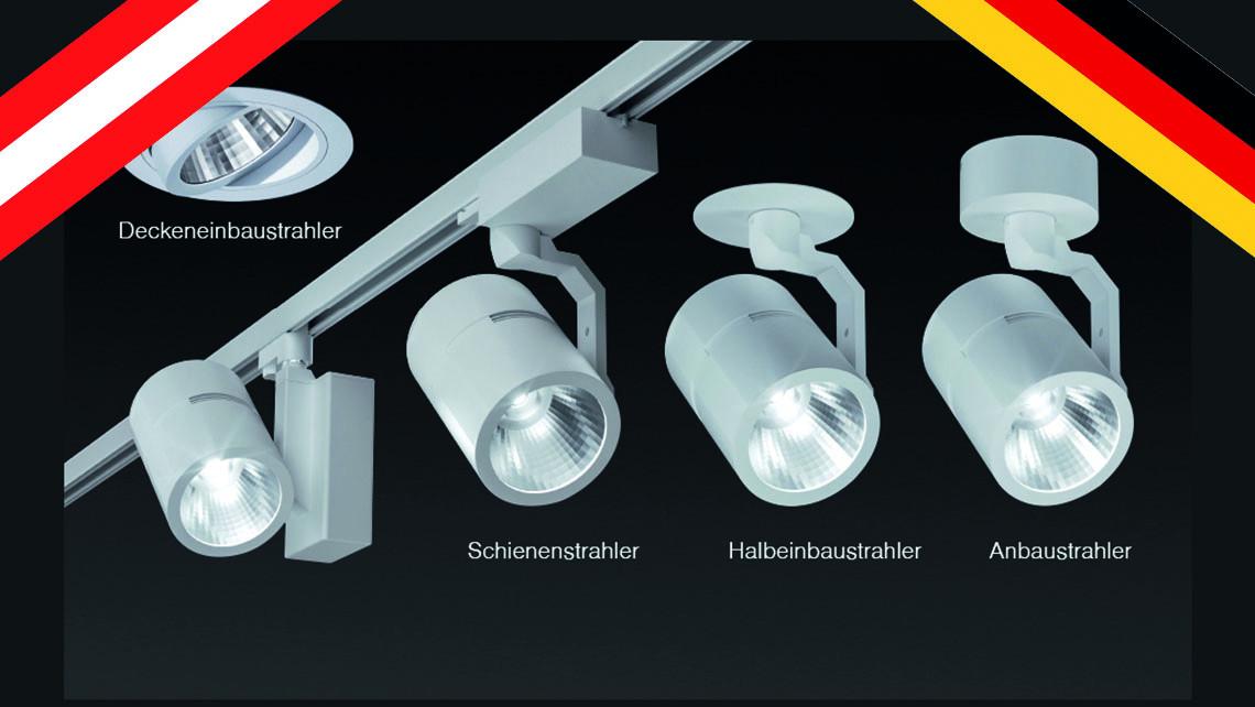 Vollständig modular aufgebaute LED-Schienen- und Einbaustrahler sowie Halbeinbau- und Anbau- Richtstrahler.